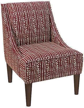 One Kings Lane Quinn Swoop-Arm Accent Chair - Red Line-Dot