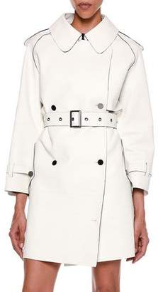 Tom Ford Contrast-Trim Bonded Leather Trench Coat