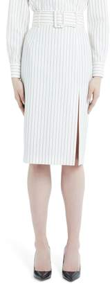 Sara Battaglia Belted Pinstripe Wool Pencil Skirt