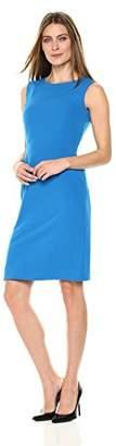 Kasper Women's Solid Round Neck Stretch Crepe Dress