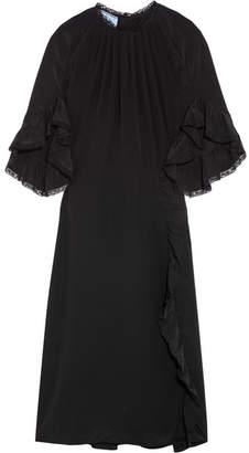 Prada Ruffled Lace-trimmed Silk Crepe De Chine Dress - Black