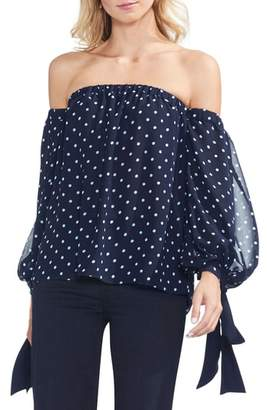 Vince Camuto Off the Shoulder Tie Sleeve Blouse