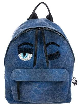 Chiara Ferragni Denim Flirting Eye Backpack