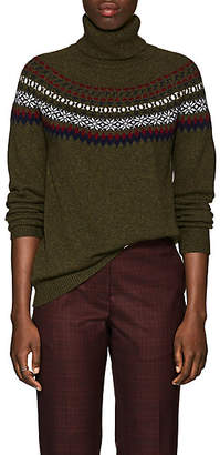 Barneys New York Women's Fair Isle Cashmere Sweater - Olive