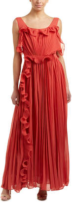 Champagne & Strawberry Pleated Maxi Dress