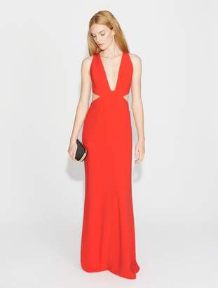 Halston Crepe Gown with Cut Outs