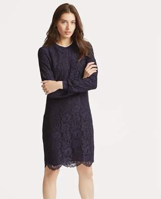 Ralph Lauren Stripe-Trim Lace Dress