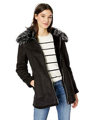 Jessica Simpson Women's Faux Shearling Fashion Coat, Black, M