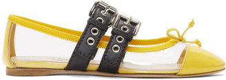Miu Miu Transparent and Yellow Double Bands Ballerina Flats
