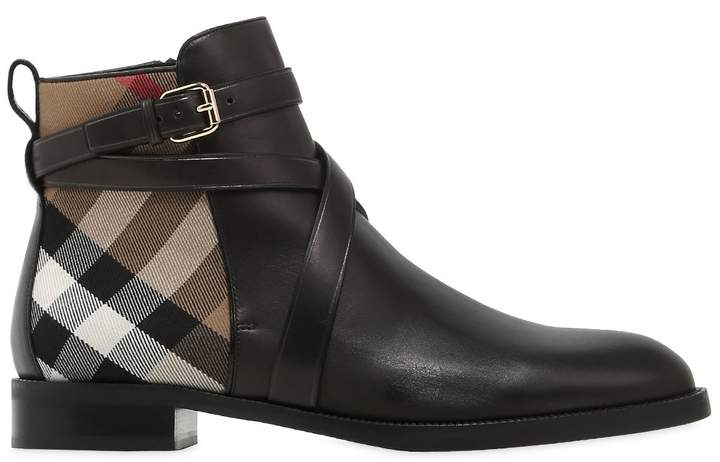 20mm Classic Check Leather Ankle Boots