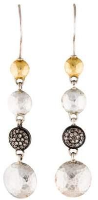 Gurhan Diamond Pavé Long Lentil Drop Earrings silver Diamond Pavé Long Lentil Drop Earrings