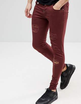 Ascend Denim Super Skinny Muscle Fit Jeans in Extreme Rips with Zips