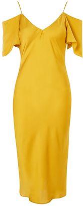 Topshop Cold Shoulder Satin Midi Dress