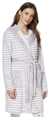 F&F Striped Fleece Dressing Gown M