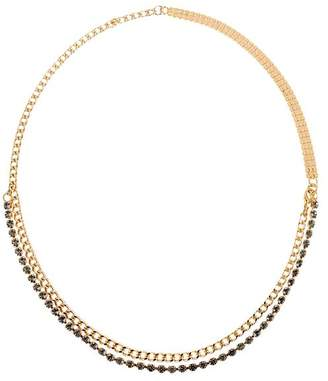 qlhm gold and pp tone shopping necklace leather in horn marni