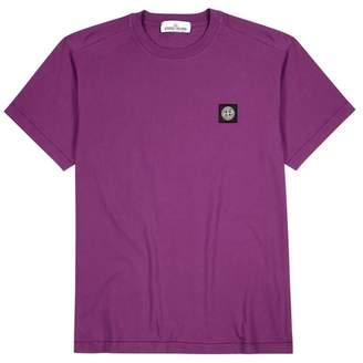 Stone Island Purple Logo-appliquéd Cotton T