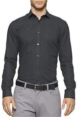 Calvin Klein Men's Shadow Plaid Long Sleeve Button Down Shirt