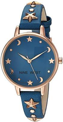 Nine West Women's NW/2126RGBL Star Accented Rose Gold-Tone and Blue Strap Watch