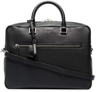 Saint Laurent black logo print pebbled leather briefcase