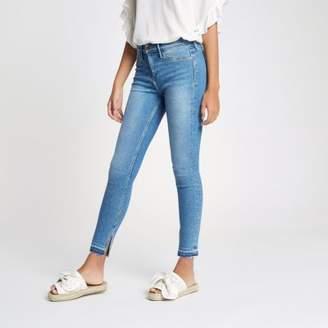 River Island Womens Mid blue Molly split hem mid rise jeans