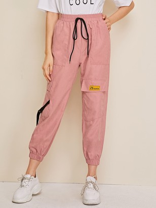 Shein Pocket Patched Buckle Drawstring Cargo Pants