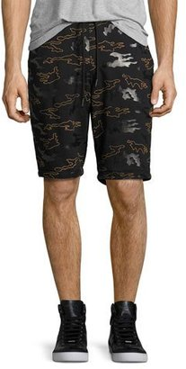 Daniel Won Rubber Camo Micro-Terry Sweat Shorts, Black $295 thestylecure.com