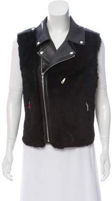 Rebecca Minkoff Leather Fur-Paneled Vest