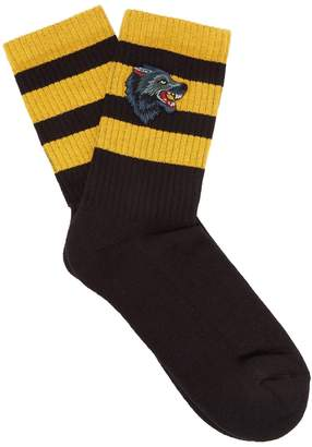 Gucci Wolf-embroidery striped cotton-blend socks