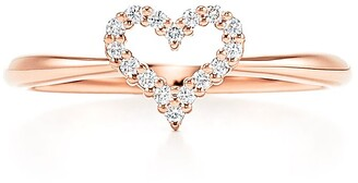 Tiffany & Co. Heart ring in 18k rose gold with diamonds, extra mini - Size 6