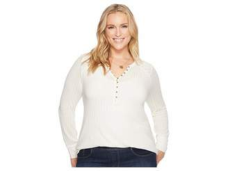 Lucky Brand Plus Size Embroidered Mix Henley Women's Long Sleeve Pullover