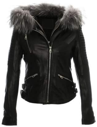 Brunate R Paris Black Leather Grey Fur Trim Biker Jacket
