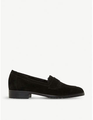 Dune Black Glenbrooke faux-fur lined suede loafers