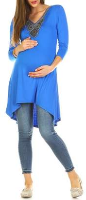 White Mark Women's Maternity Beaded Tunic Top - Extended Sizes Available