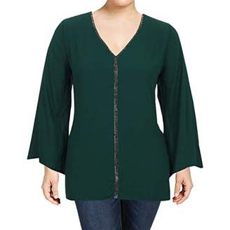 Karen Kane Women's Plus Size Sparkle Flare Sleeve Top