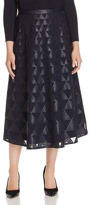 Lafayette 148 New York Adriel Laser-Cut Faux Leather Midi Skirt