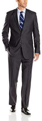 Louis Raphael Men's Modern Fit 2 Button Side Vent Flat Front Sharkskin Suit