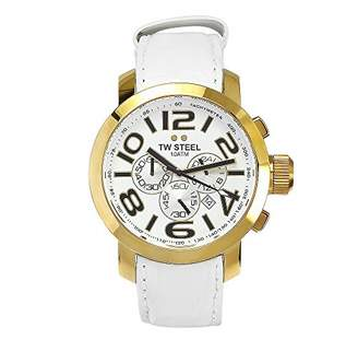 TW Steel Men's TW 55 Grandeur Leather Gold Plated Chronograph Dial Watch