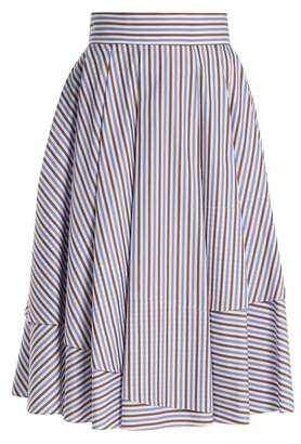 Dovima Paris - Daphne Striped Cotton Poplin Midi Skirt - Womens - Blue Multi