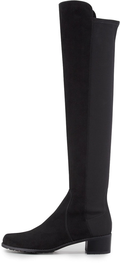 Stuart Weitzman Reserve Narrow Suede Stretch Over-the-Knee Boot, Black