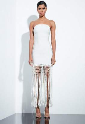 Missguided Ivory White Bandage Fringe Midi Dress