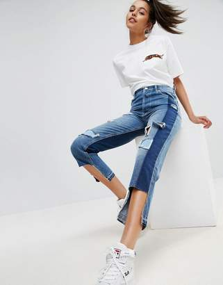 Asos DESIGN Deconstructed Straight Leg Jeans with Rips and Extreme Stepped Hem