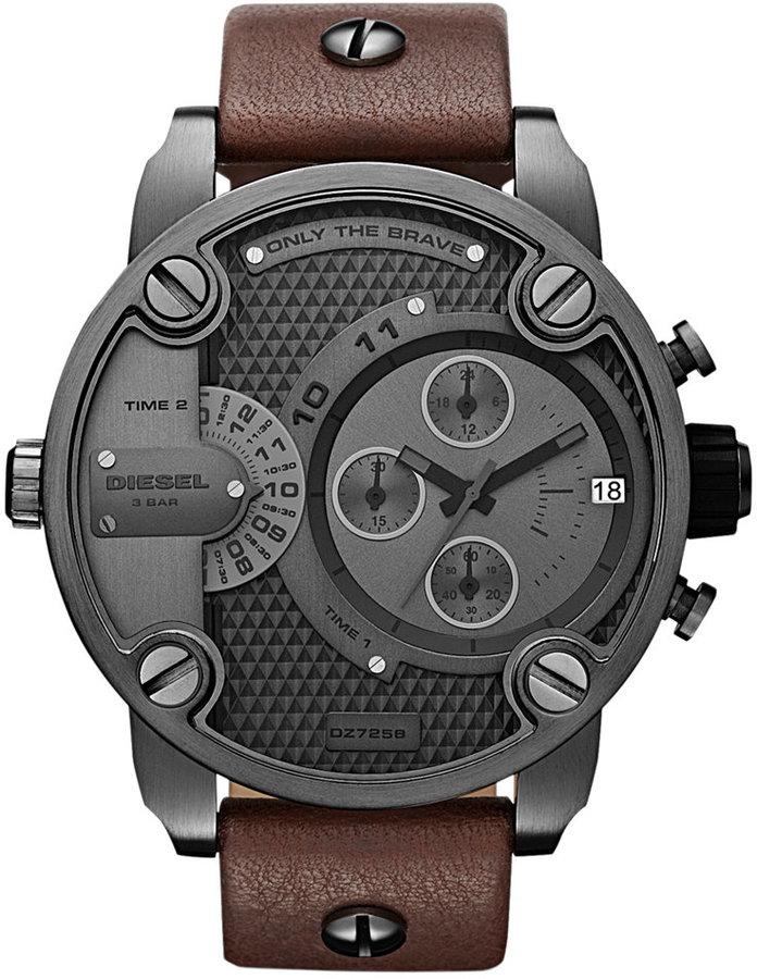Diesel Watch, Chronograph Brown Leather Strap 51mm DZ7258