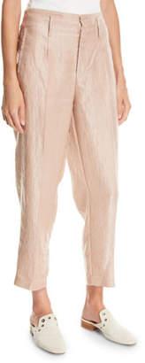 Forte Forte Iridescent Linen Satin Straight-Leg Pants