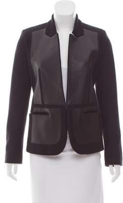 Neil Barrett Leather Paneled Wool Blazer