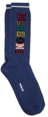 Missoni Logo Intarsia Cotton Blend Socks - Mens - Blue Multi