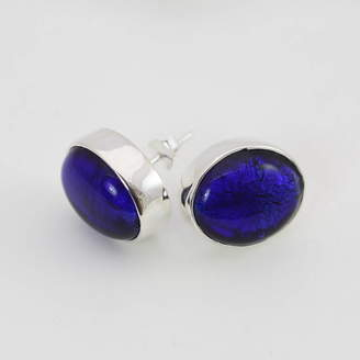 Murano Claudette Worters Silver Stud Earrings With Oval Glass
