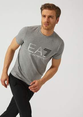 Emporio Armani Ea7 Stretch Cotton T-Shirt With Iconic Logo On The Front