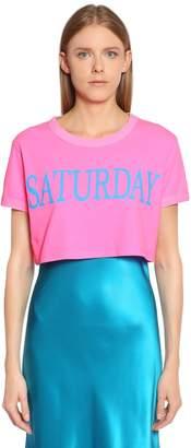 Alberta Ferretti Saturday Cotton Jersey Cropped T-Shirt