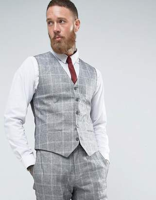 French Connection Slim Fit Linen Check Vest