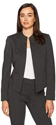 Kasper Women's Ponte Collarless Flyaway Jacket